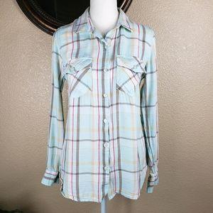 Jessica Simpson plaid long sleeve blouse western